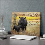 It is well with my soul with black angus cows in farm under sunset poster canvas gift for farmers hippie souls Poster