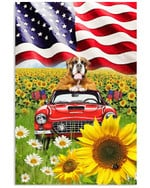 Boxer Car In The Sunflower Field american flag poster canvas best gift for dog lovers Poster