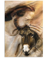 Cute goat hugging by God's love vintage poster canvas gift for farmers jesus prayers Poster