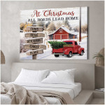 Personalized At Christmas all roads lead home Wall Decor poster canvas best gift with custom text for family lovers Poster