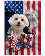 Maltese Proud Nation A dog with an image of the American flag eagle poster canvas best gift for dog lovers Poster