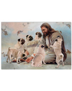 God Surrounded By Pug Angels flock of pigeons flying around poster canvas best gift for dog lovers Poster