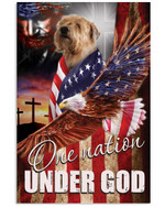 Wheaten terrier one nation under God US flag ealge on independence day poster canvas gift for wheaten terrier lovers jesus prayers Poster