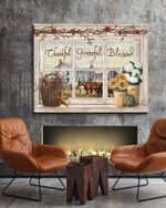 Thankful grateful blessed with horses in farmhouse through rustic wood window poster canvas gift for loved one farmers Poster