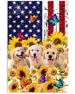 Golden Retriever In Sunflowers Garden Butterflies America Vertical Poster Gift For Golden Retriever Lovers Golden Retriever Moms Poster