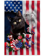 Black Cat Proud Nation A cat with an image of the American flag eagle poster canvas best gift for cat lovers Poster
