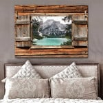 Window Mountain River Landscape wild natural poster canvas best gift for natural lovers Poster