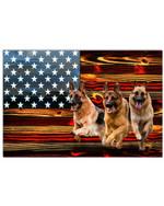 German shepherd us flag horizontal design poster canvas gift for american love german shepherd Poster