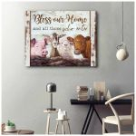Bless our home and all those who enter with dairy cattle cow sheep goat pig in farmhouse poster canvas gift for farmers Poster