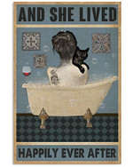 And she lived happily aver after taking shower with black cat in bathtub vintage bathroom decoration poster canvas gift for cat lovers Poster