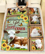Hereford Cow Blanket Just A Girl Who Loves Cows poster canvas best gift for cow lovers Quilt Blanket