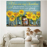 You are my sunshine when skies are grey personalized sunflowers poster canvas gift for family with custom photo Poster