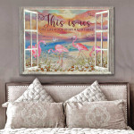 This is us our life our story our home beautiful flamingos on beach sunset through window poster canvas gift for couple Poster
