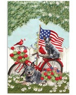 Cute heeler on red bicycle with US flag and cardinals on independence day poster canvas gift for heeler lovers dog lovers Poster