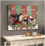 Bless our home and all who enter hereford cows in rustic barnhouse at Chirstmas poster canvas gift for farmers Poster