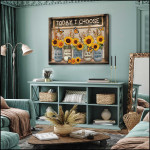 Beautiful Sunflower and Butterfly Today I Choose Canvas poster canvas best gift for sunflower lovers Poster