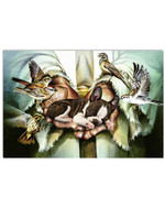 Cute boston terrier on God's hand with house sparrow birds poster canvas gift for boston terrier lovers dog lovers jesus prayers Poster