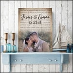 Custom photo and name date our love is uncoditional we knew it from the start poster canvas gift for couple Poster