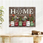 All hearts some home for chirstmas personalized red cardinals poster canvas giift for loved farmily with custom names Poster