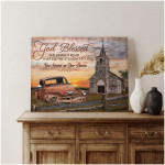 God blessed the broken road that led me straight to you old truck chruch custom text poster canvas gift for god lovers Poster