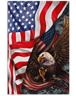 Eagle flying with American flag on independence day poster canvas gift for eagle lovers Poster