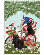 Scottish terrier on bicycle with cardinals & US flag on independence day poster canvas gift for scottish terrier lovers dog lovers Poster