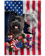 Cairn terrier proud with American flag eagle on independence day poster canvas gift for cairn terrier lovers dog lovers Poster