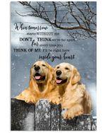 Think Of Me Inside Your Heart Golden Retriever Vertical Poster Gift For Golden Retriever Lovers Golden Retriever Moms Poster