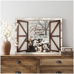 Amazing grace how sweet the sound loved cows in farmhouse in winter through wood window poster canvas gift for farmers Poster