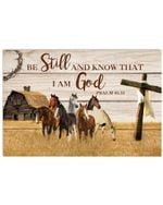 horse Be Still And Know That i am god farmhouse cross poster canvas best gift for horse lovers Poster