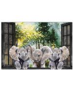 Elephants jungle theme window horizontal design poster canvas gift for farmer Poster