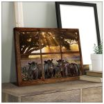 Angus cow field sunshine window design farmhouse poster canvas gift for farmer Poster