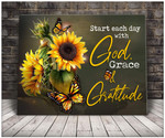 Start each day with god grave gratitude sunflowers butterflies poster canvas gift for god lovers Poster