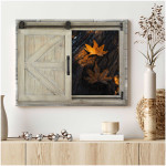 Window Yellow end of the season leaves autumn fall poster canvas best gift for natural lovers Poster