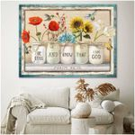 Psalm bible be still and know that I am god colorful flowers and hummingbirds poster canvas gift for loved one Poster
