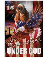 American Cocker Spaniel One Nation Under God A dog with an image of the American flag eagle poster canvas best gift for dog lovers Poster