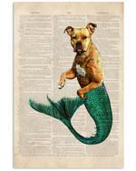 Pitbull Mermaid Old History Story Vertical Poster Gift For Pitbull Lovers Pitbull Moms Poster