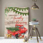 The love of a family blessing Truck Of Golden retriever family christmas Poster gift for Golden retriever lovers christmas Lovers Poster
