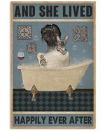 And she lived happily aver after taking shower with sphynx cat in bathtub bathroom decoration poster canvas gift for sphynx cat lovers Poster