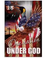 Penguin one nation under God US flag ealge on independence day poster canvas gift for penguin lovers jesus prayers Poster