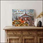 God knew my heart needed you personalized church & sunflower truck anniversary poster canvas gift for couple with custom name & date Poster