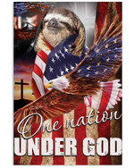 Cute sloth proud one nation under God with US flag eagle on independence day poster canvas gift for sloth lovers jesus prayers Poster