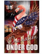 Flamingo proud one nation under God with US flag eagle on independence day poster canvas gift for flamingo lovers Poster