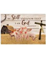 Pig Be Still And Know That i am god farmhouse cross poster canvas best gift for pig lovers Poster