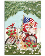 Cute corgi on red bicycle with US flag and cardinals on independence day poster canvas gift for corgi lovers dog lovers Poster