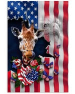 Cute giraffe proud nation with US flag eagle on independence day poster canvas gift for giraffe lovers Poster