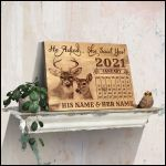 He asked she said yes personalized buck & doe wood anniversary poster canvas gift for couple with custom names & date Poster