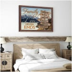 Family where life begins & love never ends personalized mountain river nature poster canvas gift for loved family with custom names Poster