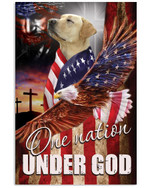 Golden retriever one nation under God US flag ealge on independence day poster canvas gift for golden retriever lovers jesus prayers Poster
