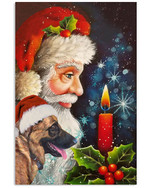 German shepherd wish with Santa Claus for Christmas Eve poster canvas gift for german shepherd lovers dog lovers Poster